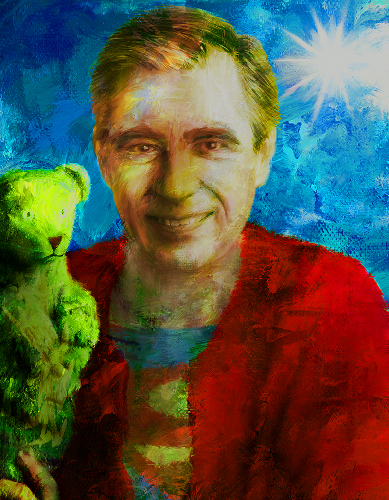 Digital painting of Mister Rogers with a hand puppet and a Superman 's' on his shirt.