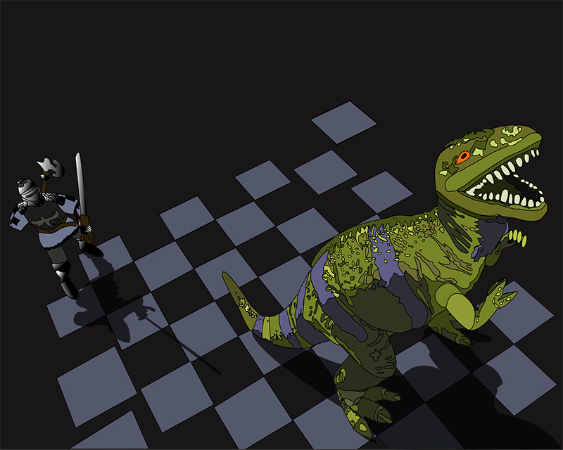 On a floating and disintegrating chessboard, a one-armed toy knight confronts a roaring T-Rex from behind.